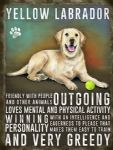Yellow Labrador Dog Lover Metal Steel Gift Qualities Sign Plaque